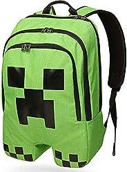 Minecraft Creeper Pattern Backpack Cartoon Schoolbag Large Capacity Outdoors Bag