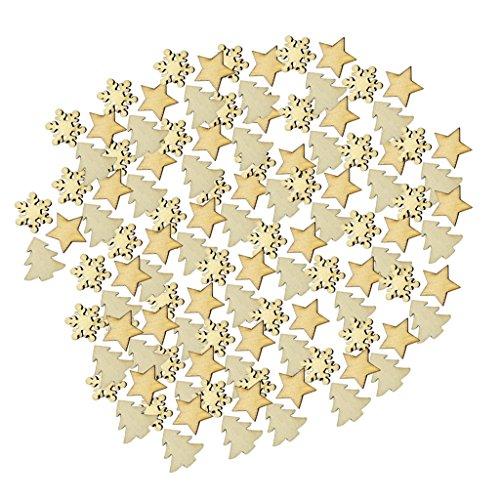 Unfertigen Holz-stücke (MagiDeal 100 Stück Holz Scheiben Holz Scrapbooking Stern Schneeflocken Weihnachtsbaum für Weihnachten Handwerk Herstellung DIY)