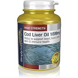 Aceite de Bacalao 1000 mg | Rico en Omega 3 y Vitaminas A y D | Grado farmacéutico | 180 cápsulas |