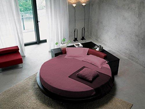 scalabedding 6-Blatt rund 300TC 100% ägyptische Baumwolle für Bett King size-ø 96cm magenta Uni -