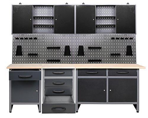 Werkstatt Werkstatteinrichtung 7 tlg. grau Werkbank Werkzeugschrank Lochwand