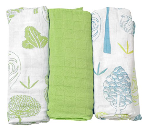 ToTs by Smartrike 170-101 Muslin Squares 100 Percent Bamboo Rayon (Pack of 3) Bamboo Swaddles 120 x 120 cm Green