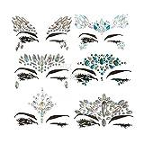 LanLan 6 Pcs, Etiquetas engomadas para decoracón la Cara de Las Mujeres, Joyería Cristales Cara Pegatinas de Ojos Cara Cuerpo Tatuajes Temporales