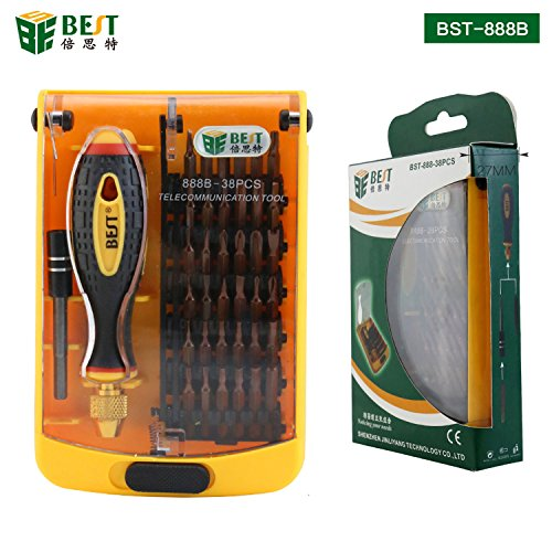 Preisvergleich Produktbild BEST TOOL - BST-888B - Tragbares Universal Feinmechaniker Werkzeug-Set magnetisch - für Smartphone- / Tab- / Camera- / Laptop- / Uhren- / Computer- / Drucker-Reparatur - 38 Teile