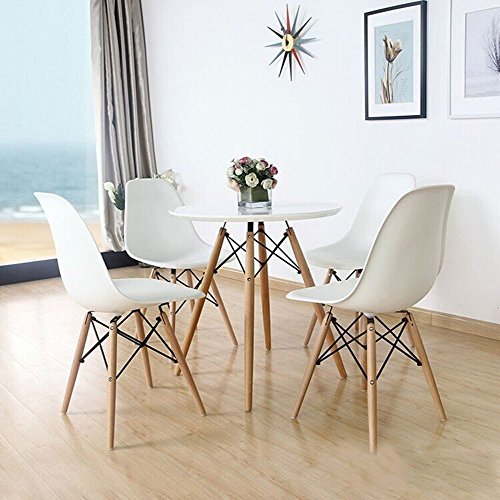 4 x EAMES STYLE DSW EIFFEL DINING OFFICE CHAIR WHITE WOOD LEG-Stainless steel