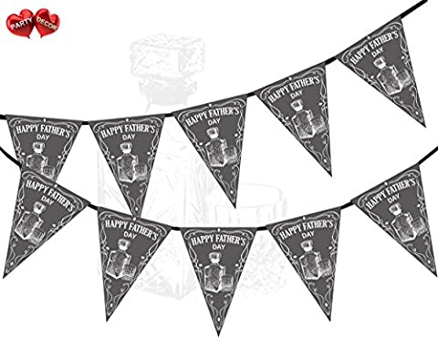 Happy Fathers Day Whisky Black and White Themed Bunting Banner 15 flags for guaranteed simply stylish party decoration by PARTY