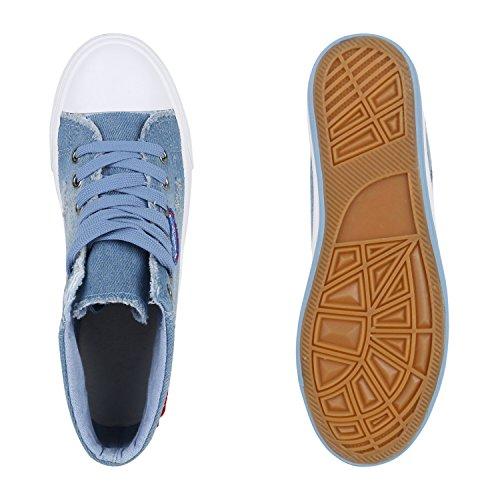 Damen High Top Sneakers Denim Jeans Sportschuhe Schnürer Hellblau