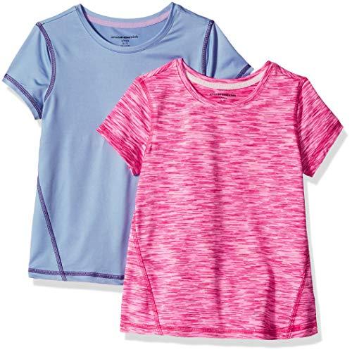Amazon Essentials Mädchen-Kurzarmshirt Active, 2er-Pack, Purple/Pink Spacedye, US XS (EU 104-110 CM)