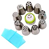 Russian Piping Tips - 11 Piece Cake Baking Supplies - Pastry Decorating Tips Cake Cupcake Decorator(9 Piping Icing Nozzles,1 Reusable Silicone Pastry Bag, 1 Tri-Color Coupler)
