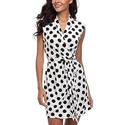 MISS MOLY Vestido cruzado con cuello en V Altura de la rodilla de Puntos cruzados para mujeres Blanco - S