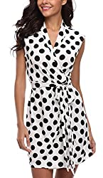 MISS MOLY Sommerkleid Damen Wickelkleid Gepunktetes Kleider Polka Dots Weiß Medium