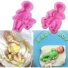 Juego de 2 moldes de silicona para decoración de tartas de bebé, decoración de pasteles