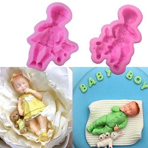 2pcs/lot Mini Dormir bébé gâteau de moules Fondant, Baby Coque en silicone pour décoration de gâteaux Moule à gâteau et décoration de chocolat (Mold Silikon Boy Baby)