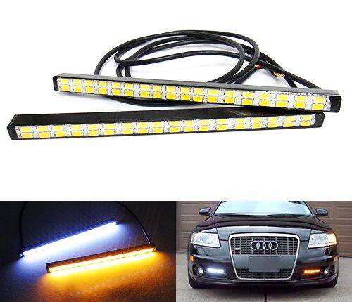 2x Weiß Bernstein Lichtband Samsung LED Tagfahrlicht DRL TFL Slim Auto Standlicht Indikator Bumper Nebel Lampe Universal Fit