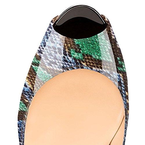 EKS Damen Stilett Peep Toe Gradient Kleid-Partei Pumps Farbverlauf grün