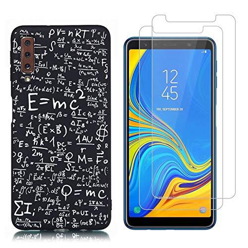 Reshias Custodia Samsung Galaxy A7 2018 Cover Silicone Trasparenti Gel TPU (Equazione) Morbido Antiurto Protettiva Shell spigen Cover per Samsung Galaxy A7 2018 con (2 Pack) Vetro temperato