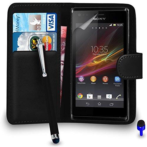 sony-xperia-m-premium-leather-wallet-noir-flip-protecteur-ecran-housse-pouch-big-tactile-stylet-chif