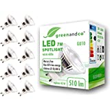 10x Spot LED greenandco® GU10 7W (corresponde a 40-50W) 510lm 3000K (blanco cálido) SMD LED 50° 230V AC