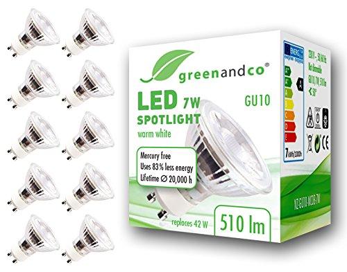 10x greenandco® Spot à LED GU10 7W équivalent 40-50W, 510lm 3000K blanc chaud SMD LED 50° 230V AC, verre, non graduable