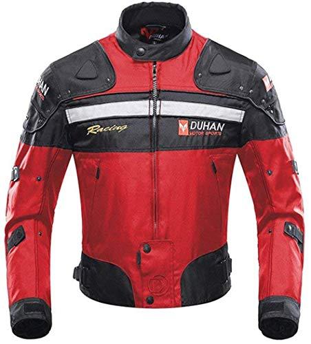 Veste de Moto, Blouson Moto Homme Sport avec Armure pour l'automne Hiver (Red, M)