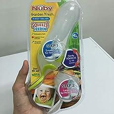 Nuby Garden Fresh Silicone Squeeze Feeder with Spoon Squeeze Feeder with Two Spoon (Colour May Vary)