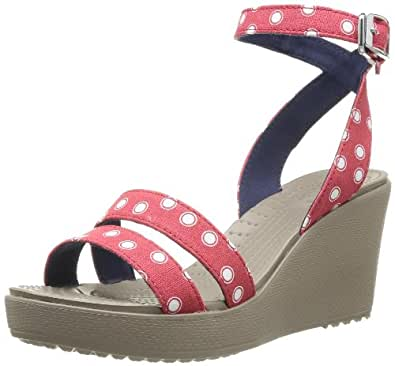 Crocs Leigh Graphic Pack Wedge, Women's Sandals, Red/White, 3 UK
