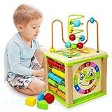 Ulmisfee Aktivität Würfel,5 in 1 Motorikwürfel Cube Toy Holzperle Labyrinth Form Motorikschleife Babyausbildung Motorikspielzeug Spielzeug Geschenke für 1 2 3+ Jahre alte Jungen Mädchen Kleinkind