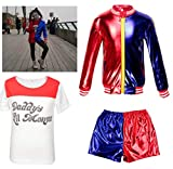 Kids Girls Costume Suicide Squad Harley Quinn Fancy Dress Cosplay Costume Outfit (8-9 Years(130cm-140cm child))