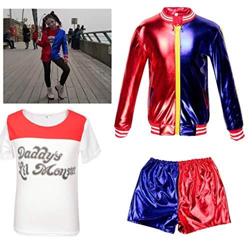 CBBI Disfraz de Harley Quinn de Suicida para niñas (3-4 Years(100cm-110cm Child))