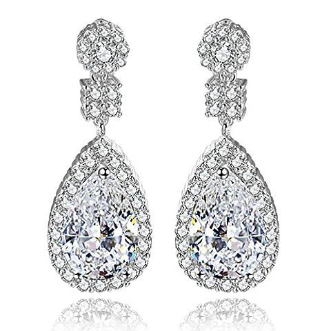 SELOVO Prong Cubic Zirconia Wedding Teardrop Drop Earrings for Women Silver Tone