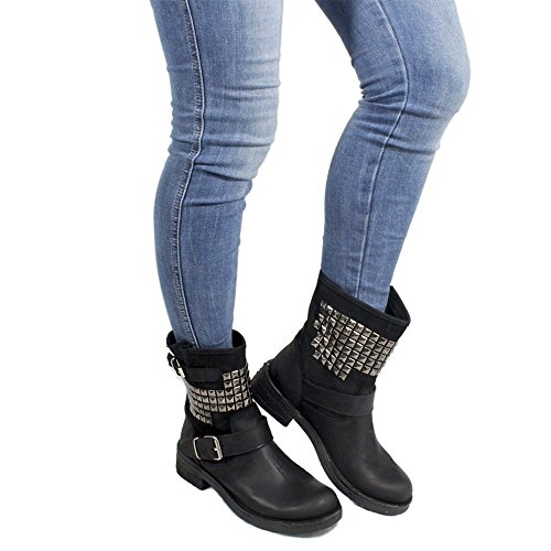 Personal Shoepper Stivaletti con Borchie Piramidali Biker Boots Stivali Bassi Donna 0316 Nero Vera Pelle nabuk Made in Italy Nero