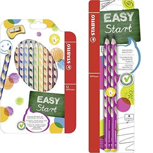 Ergonomischer Buntstift für Linkshänder - STABILO EASYcolors - 12er Pack mit Spitzer - mit 12 verschiedenen Farben & Dreikant-Bleistift für Linkshänder - Härtegrad B - 2er Pack