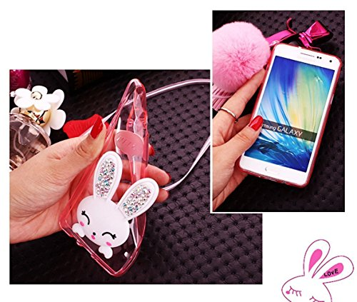 Sunroyal Samsung J5 2016 3D Lovely Coniglio Custodia in Silicone Foldable Rabbit Bunny Ear Case Sottile Anti Scivolo Trasparente Soft Morbido TPU Bumper Copertura della Protezione con Orecchio Support Model 02