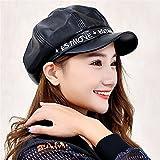 Depilazione femminile in pelle sottile Hat Beret Hat Signora Stella in primavera e in autunno PU Beret berretto lettere,nero