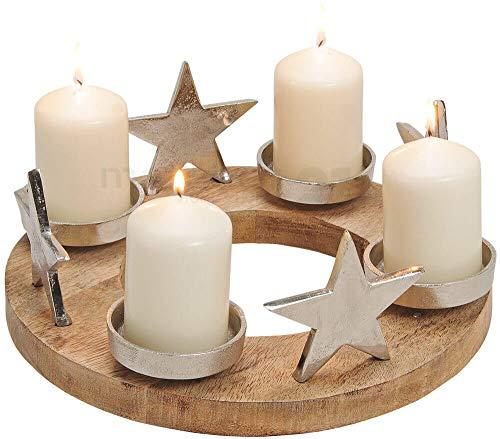 matches21 Adventskranz Adventsgesteck mit Sternen & Kerzenhalter aus Metall & Holz Deko Silber/braun Ø 30x13 cm