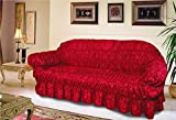 NTT Large Jacquard Sofa Covers for 1, 2 & 3 seater sofa/Arm Chair Alternate to Sofa Throw (Red, 3 Seater)