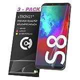 cTRON21 3X Schutzfolie kompatibel mit Samsung Galaxy S8 [Vollständige Abdeckung - Hüllenfre&lich] Folie TPU Bildschirmschutzfolie [Keine Bläschen]