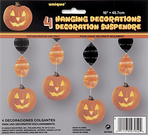 45cm Kürbis Halloween Glow Dekoration zum Aufhängen, 4Stück (Leuchtet Halloween Fenster)