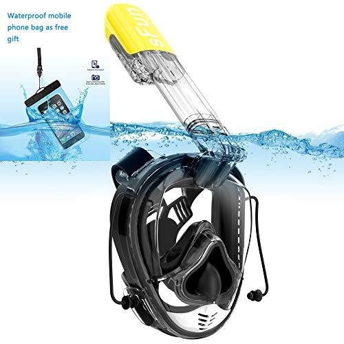 SFUN Schnorchelmaske Voll Gesicht Schnorchel Maske Vollmaske Antibeschlag für Erwachsene Kinder Tauchen Schnorcheln Schwimmtauchen Schwimmen (Schwarz&Gelb)