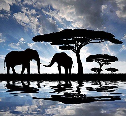 Cuadro sobre Lienzo – Africano Elefantes Árbol Lago Árbol Paisajes Fotografía Pared...