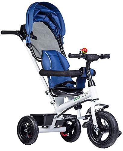 Eco Toys Dreirad Kinderdreirad Fahrrad mit Schubstange, Gummireifen, Sonnendach, Elternlenkung, mitwachsend, Multifunktion