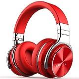 cowin E7 PRO [2018 aktualisiert] Active Noise Cancelling Kopfhörer Bluetooth Kopfhörer mit Mikrofon Hi-Fi Deep Bass Wireless Kopfhörer über Ohr 30H Spielzeit für Reisen Arbeit TV Computer Telefon(Rot)