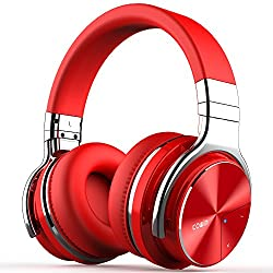 cowin E7 PRO Blautooth wireless headphones with active noise cancellation and hi-fi microphone with 30 hour playback time red