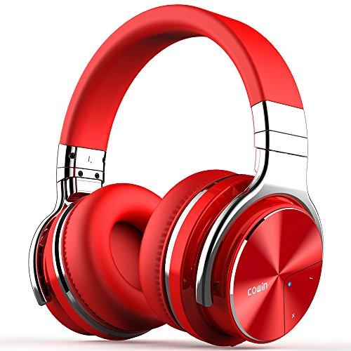 cowin E7 PRO [2018 aktualisiert] Active Noise Cancelling Bluetooth Kopfhörer mit Mikrofon Hi-Fi Deep Bass Wireless Kopfhörer über Ohr 30H Spielzeit für Reisen Arbeit TV Computer Telefon(Rot)