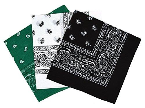 Set 3 bandanas paisley damen und herren grün, weiß, schwarz 57x57cm