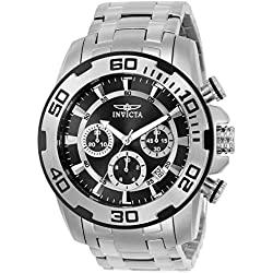 INVICTA Pro Diver Men's Quartz Watch with Black Dial Chronograph Display and Silver Stainless Steel Bracelet - 22318