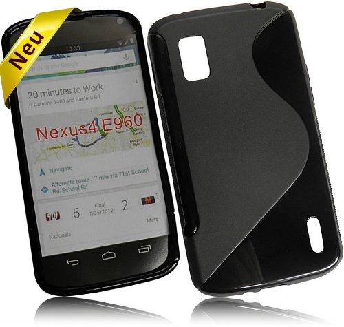 Für LG E960 Google Nexus 4 New Style S Design Tasche Silikon TPU Rubber Case Handytasche Hülle Schutzhülle Silicon Skin Cover in Schwarz