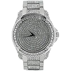 Techno Trend Men's Silver Plated Clear Stones Flat Lens w/ Cut Edges Click Rotate Bezel Hip Hop Watch