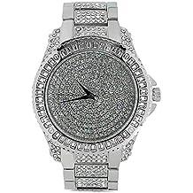 Techno Trend hombre chapado en plata claro piedras soporte de lente w/corte bordes haga clic rotación bisel Hip Hop Reloj