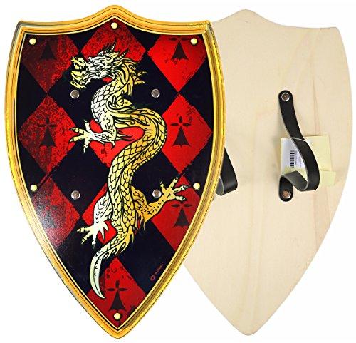 Kinder Ritter Wikinger Krieger Schild aus Holz Karneval mit Drachen Motiv - Smaug Drache Kostüm